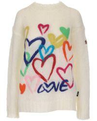 3 MONCLER GRENOBLE Heart Jacquard Knit Sweater - White