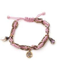 Alexander McQueen Woven Charm Bracelet - Pink