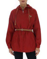 Prada Logo Plaque Zip-front Jacket - Red