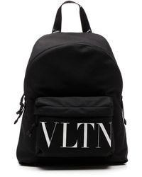 Valentino Vltn Canvas Backpack - Black