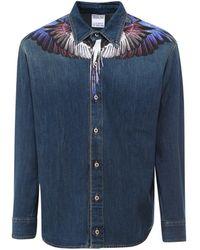 Marcelo Burlon Wings Denim Shirt - Blue