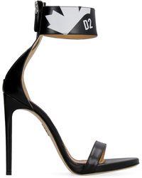 DSquared² Maple Leaf Logo Printed Sandals - Black