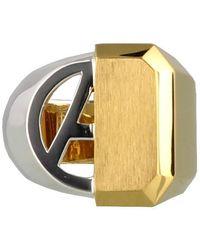 Ambush Contrasting Signet Ring - Metallic