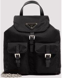 Prada Logo Plaque Mini Backpack - Black