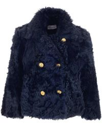 RED Valentino Redvalentino Double Breasted Fur Jacket - Blue