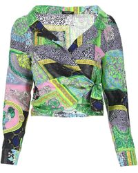 Versace Printed Cropped Wrap Blouse - Multicolour
