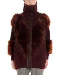 Stella McCartney Fur Trim Zip-up Cardigan - Red