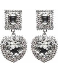 Alessandra Rich Heart Embellished Earrings - Metallic