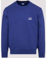 C.P. Company Diagonal Raised Fleece Ogo Weatshirt - Blue