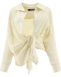 Jacquemus La Chemise Bahia Draped Shirt - Natural