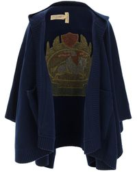 Burberry Cape With Emblem Inlay - Blue