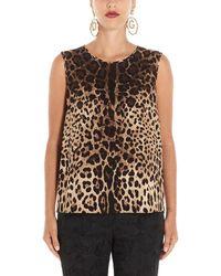 Dolce & Gabbana - Sleeveless Animalier Print Top - Lyst