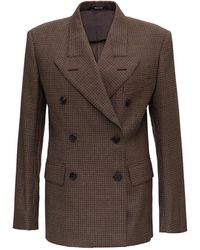 Maison Margiela Double-breasted Houndstooth Wool Blazer - Brown