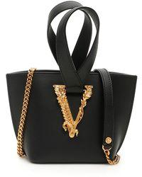 Versace Virtus Mini Bucket Bag - Black