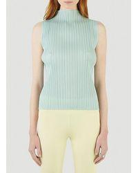 Pleats Please Issey Miyake Turtle-neck Sleeveless Top - Green