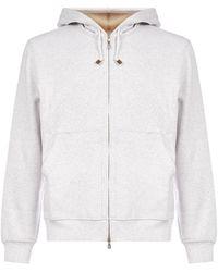 Brunello Cucinelli Drawstring Zipped Hoodie - White