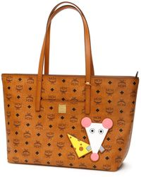 MCM Anya Rat Detail Tote Bag - Brown