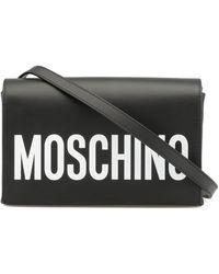 Moschino Logo Print Shoulder Bag - Black