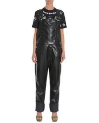 Givenchy Faux Leather Dungarees - Black