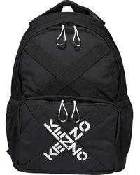 KENZO Sport Logo Printed Backpack - Black