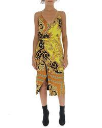 Versace Draped Baroque Printed Dress - Metallic
