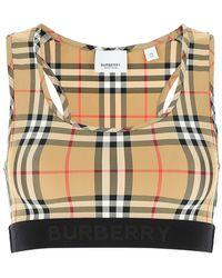 Burberry Logo Detail Vintage Check Crop Top - Multicolor