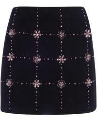 Miu Miu Crystal-embellished Mini Skirt - Black