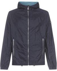 Prada Logo-plaque Nylon Piuma Hooded Jacket - Blue