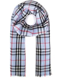 Burberry Logo Embroidered Check Scarf - Blue