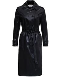 Saint Laurent Double-breasted Trench Coat In Cotton Satin And Acetate - Black