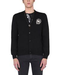 Alexander McQueen V-neck Wool Cardigan With Biker Graphic Patch - Black