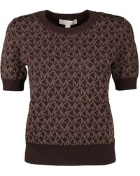 MICHAEL Michael Kors Allover Monogram Knit Top - Brown