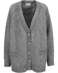 Prada Ribbed-hem Oversized Cardigan - Grey