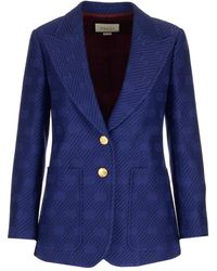 Gucci GG Embroidered Blazer - Blue