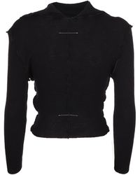 MM6 by Maison Martin Margiela Exposed-seam Ribbed Sweater - Black