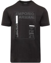 Emporio Armani Logo Printed Crewneck T-shirt - Black