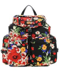 Miu Miu Floral Printed Backpack - Black