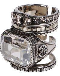 Alexander McQueen Embellished Stackable Rings - Metallic
