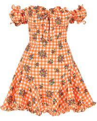 Alessandra Rich Printed Silk Mini Dress Nd - Orange
