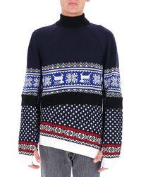 Marine Serre Regenerated Knitted Sweater - Blue