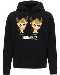 DSquared² Year Of The Ox Print Hoodie L Cotton - Black