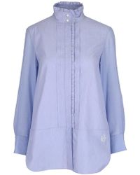 Chloé Asymmetric Hem Longline Shirt - Blue