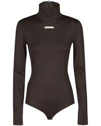 Maison Margiela High-neck Zipped Bodysuit - Brown