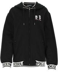 Dolce & Gabbana Zipped Hooded Sweatshirt - Black