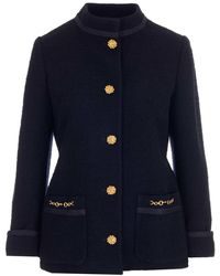 Gucci Tweed Crêpe Buttoned Jacket - Blue