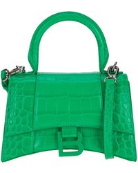 Balenciaga Xs Hourglass Embossed Tote Bag - Green