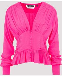 ROTATE BIRGER CHRISTENSEN Ruffle-hem V-neck Blouse - Pink