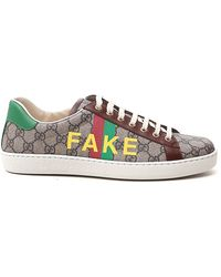 Gucci 'fake/not' Print Ace Trainer - Natural