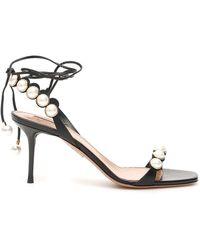 Aquazzura Mae Faux Pearl-embellished Lace-up Leather Sandals - Black