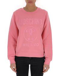 Moschino Logo Printed Sweatshirt - Pink